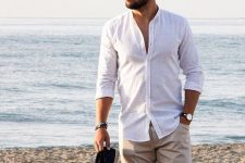a white linen shirt, tan shorts and black espadrilles will compose a nice look for a vacation