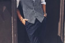 elegant summer work outfit with a white button up, a printed waistcoat, navy pants and white sneakers