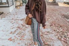 a cool outfit with a side stripe trousers