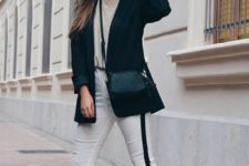 a casual look with a neutral tee, a black oversized blazer, white side strip pants, white sneakers and a black bag