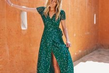 a green and white maxi polka dot dress with short sleeves is a fun and cool idea for summer