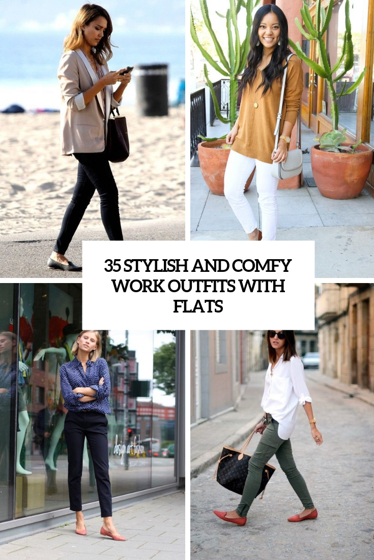 35 Stylish And Comfy Work Outfits With Flats