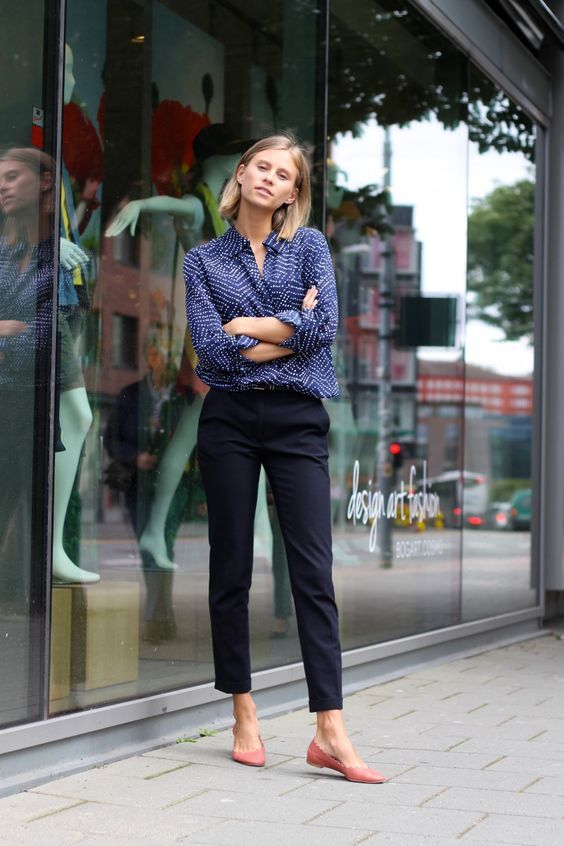 a blue printed button down, navy pants, pink flats for a chic casual work outfit