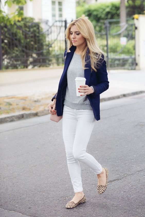a navy, grey and white outfit with a blush crossbody bag and leopard flats