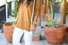 a simple look with white jeans, a mustard sweater, checked and mustard flats and a dove grey bag