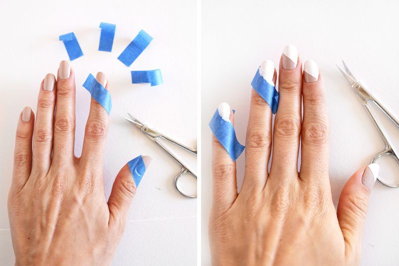 Picture Of easy diy half slash modern nude manicure  3