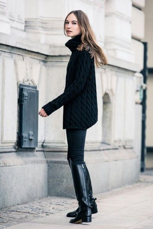 Picture Of stylish oversized turtleneck sweater looks  10