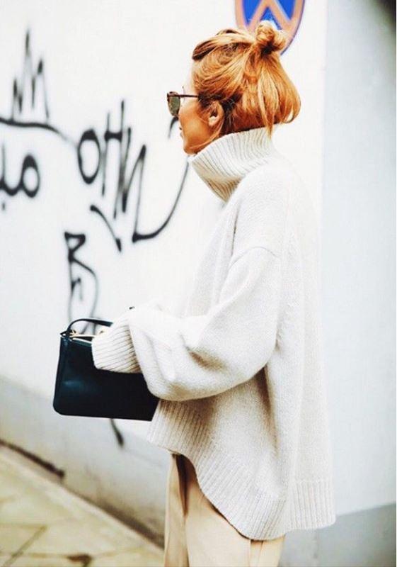 Picture Of stylish oversized turtleneck sweater looks  9