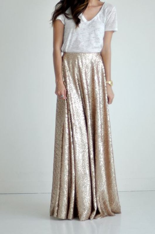 Picture Of best ways to rock sequin maxi skirt this holiday season  11