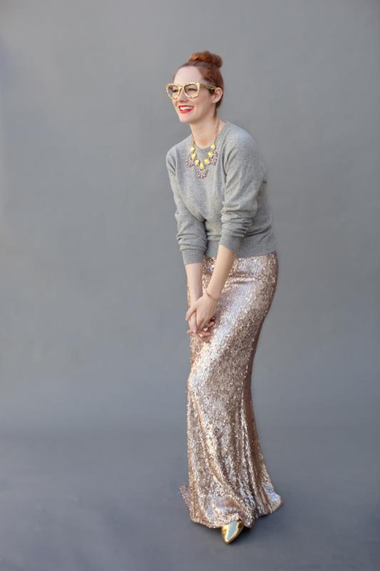 Picture Of best ways to rock sequin maxi skirt this holiday season  3