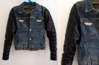 Original DIY Leather Sleeved Denim Jacket
