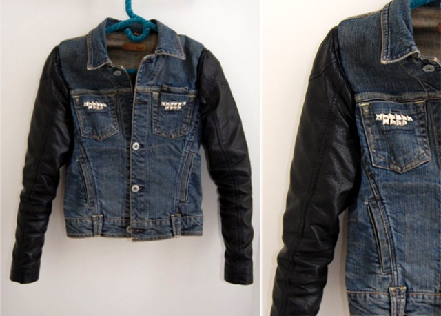 Original DIY Leather Sleeved Denim Jacket