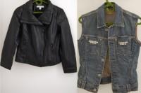Original DIY Leather Sleeved Denim Jacket3
