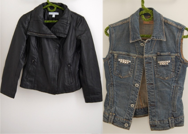 Picture Of Original DIY Leather Sleeved Denim Jacket 3