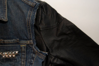 Original DIY Leather Sleeved Denim Jacket4