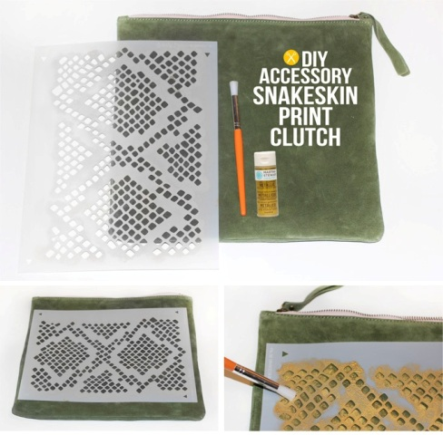 Unique DIY Snakeskin Print Clutch