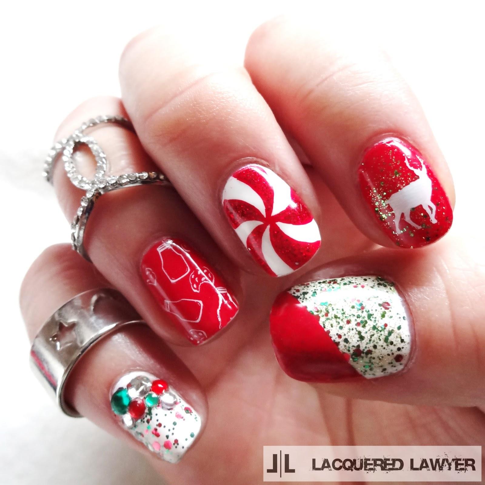 of bold diy christmas nail art with rhinestones 1