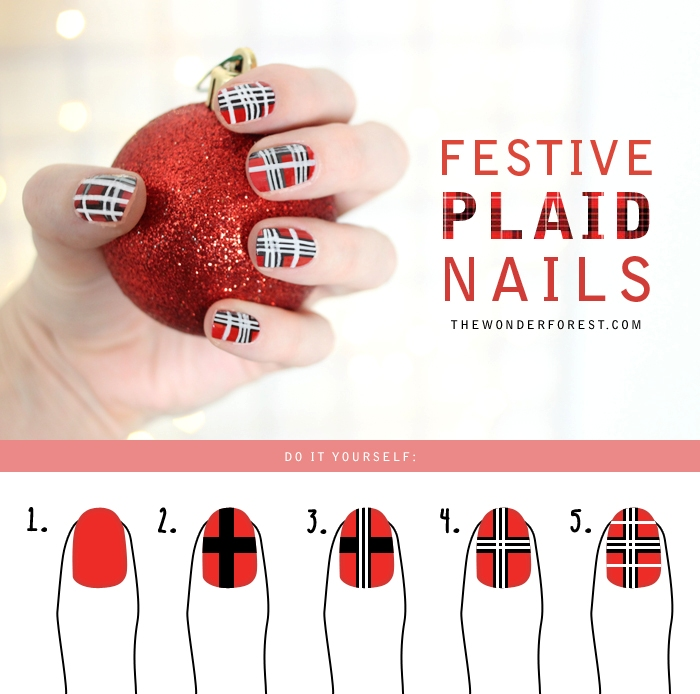 Picture Of christmas inspired diy festive plaid nail art  2