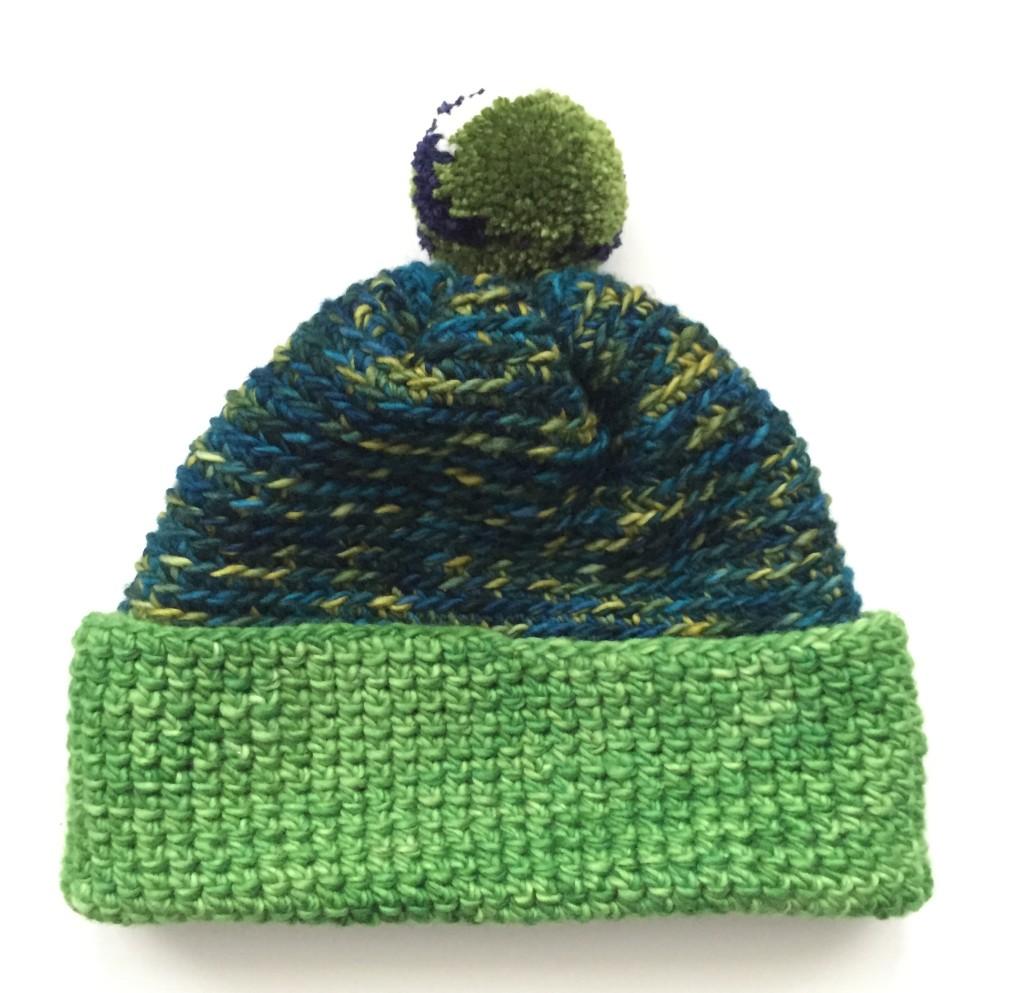 Picture Of diy crochet alpine pompom hat  5