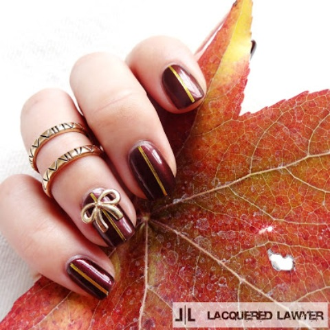 Fancy DIY Burgundy And Bow Manicure