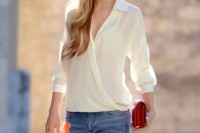 16 Feminine Outfits With A Wrap Front Blouse