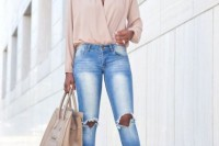 16 Feminine Outfits With A Wrap Front Blouse 9