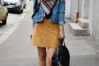 16 Feminine Suede Skirt Outfits10