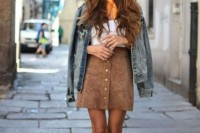 16 Feminine Suede Skirt Outfits2