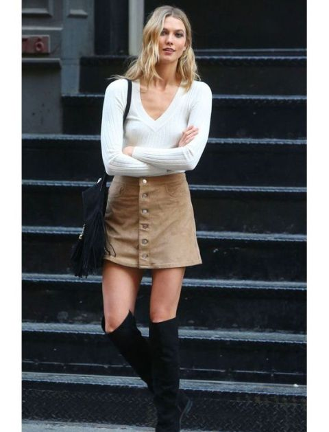 Picture Of Feminine Suede Skirt Outfits 3