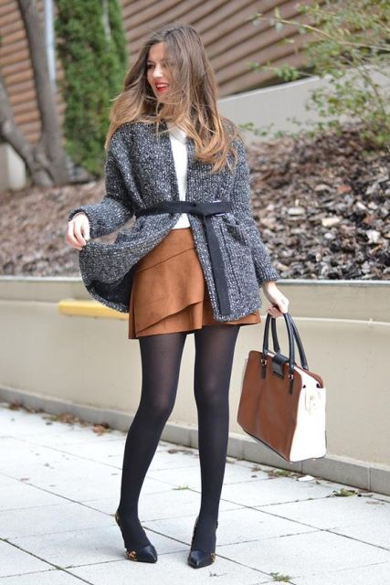 16 Comfy And Feminine Suede Skirt Outfits