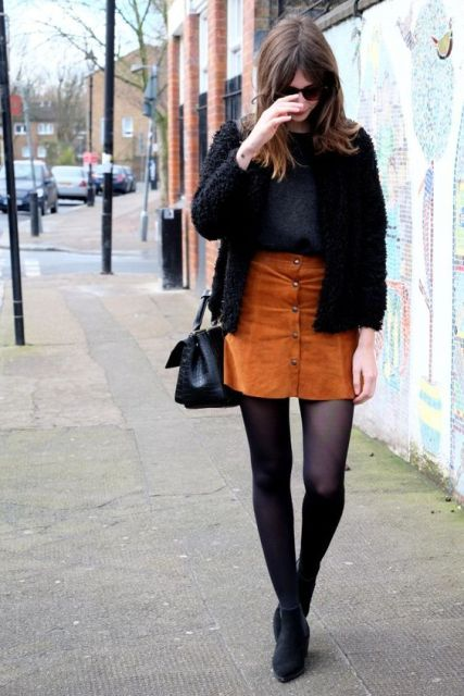 Picture Of Feminine Suede Skirt Outfits 6