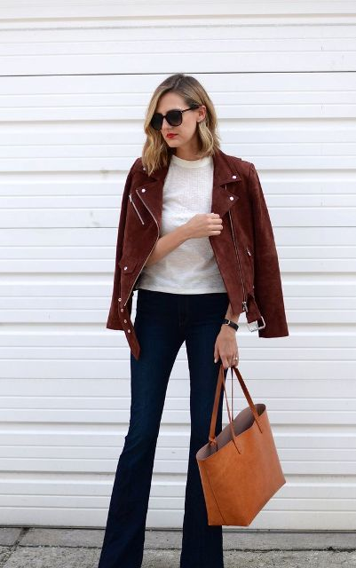 Suede Jacket Outfits For Stylish Ladies
