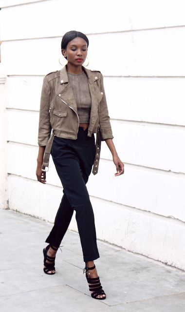 Picture Of Suede Jacket Outfits For Stylish Ladies 6