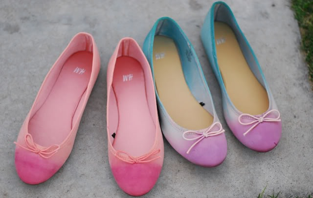 Colorful DIY Dip Dye Ombre Ballet Flats