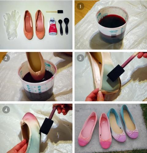 Colorful DIY Dip Dye Ombre Ballet Flats