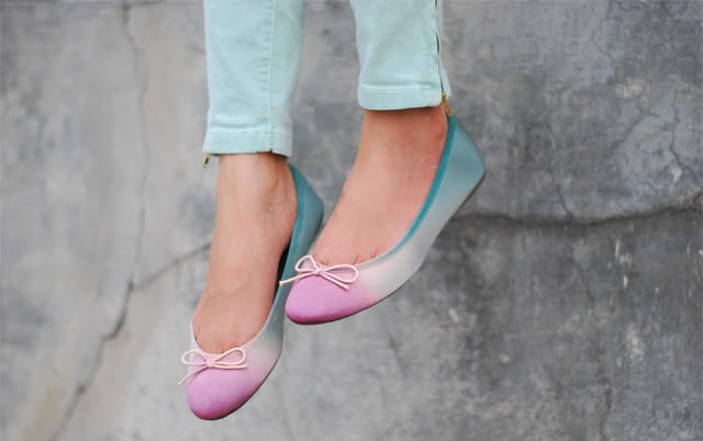 Picture Of Colorful DIY Dip Dye Ombre Ballet Flats 3