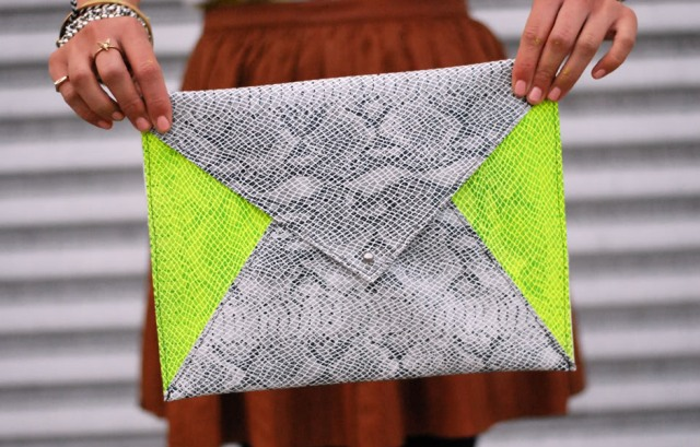 Comfy DIY Neon Envelope Clutch