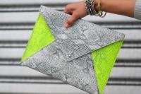 Comfy DIY Neon Envelope Clutch5