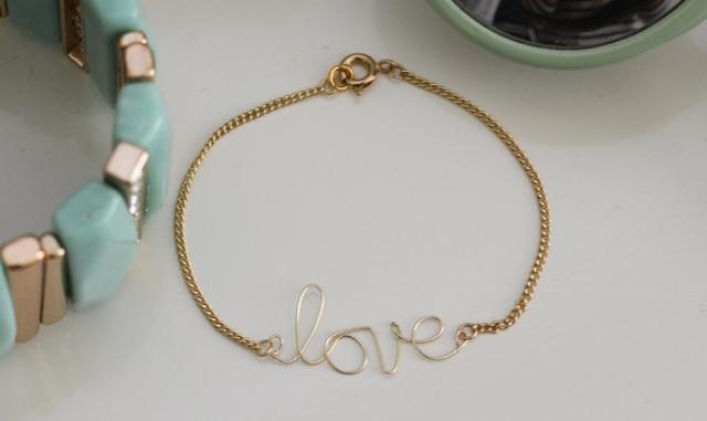 DIY Wire Love Bracelet With Tassel