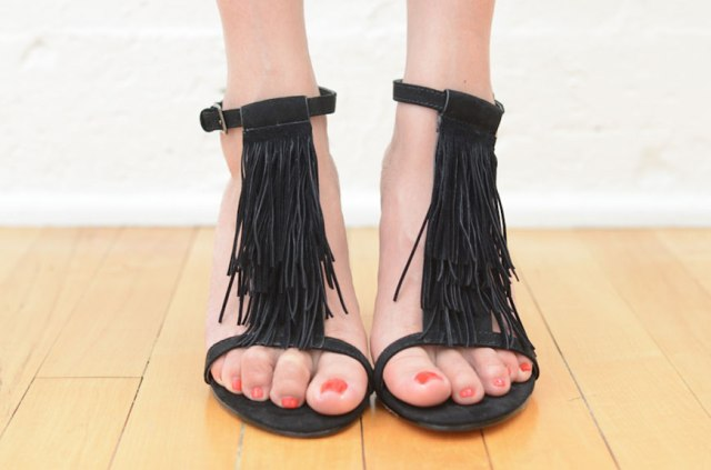 Stylish DIY T-Strap Fringe Heels