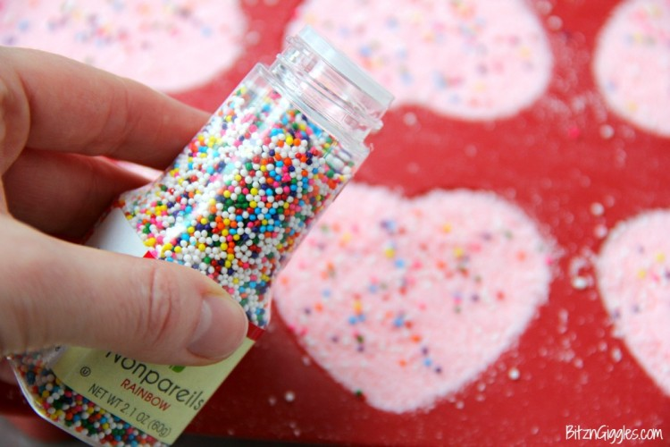 DIY Heart Shaped Rainbow Sprinkle Bath Bombs
