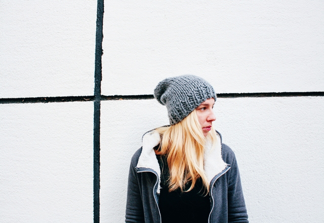 Picture Of diy slouchie knit beanie for cold winter days  1