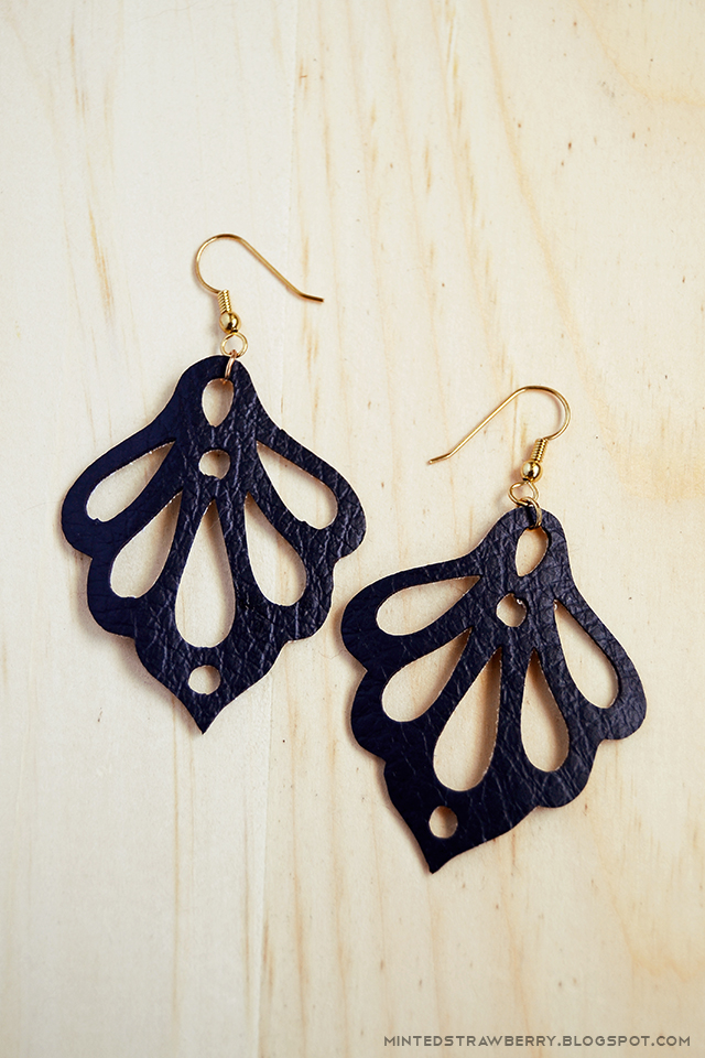 DIY Statement Ornate Faux Leather Earrings