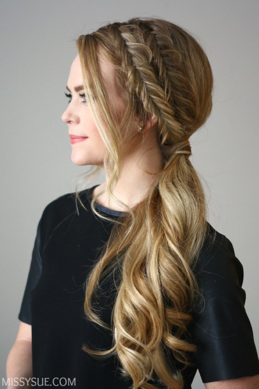 Picture Of easy diy double fishtail side ponytail  1