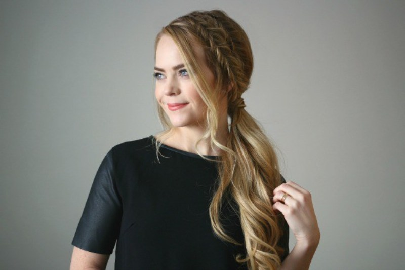 Picture Of easy diy double fishtail side ponytail  3