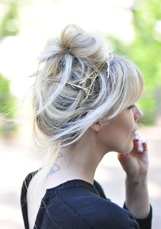 Nature-Inspired DIY Gold Branch Hair Pins