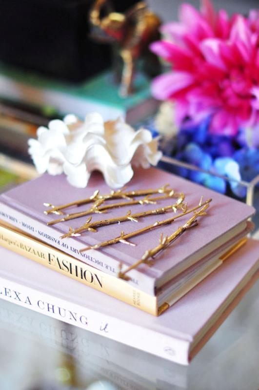 Nature Inspired DIY Gold Branch Hair Pins