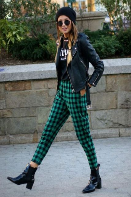 Picture Of Awesome Checked Trousers Outfits For Ladies 10