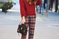 16 Awesome Checked Trousers Outfits For Ladies 9