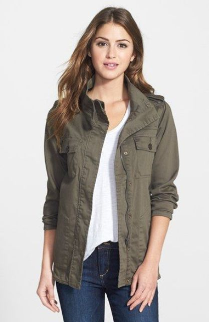 Green Army Jacket Outfits For Stylish Girls